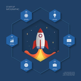 Infographie moderne, concept rocket avec 6 options