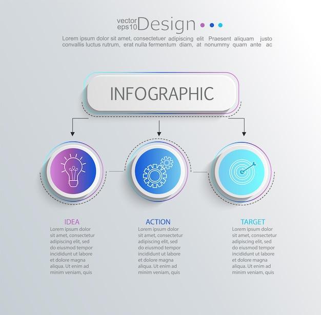 Infographie moderne et créative avec visualisation des données de la chronologie de l'entreprise. diagramme avec 3 étapes, options, pièces et processus. modèle de présentation, mise en page du flux de travail, bannière, conception de sites web. illustration vectorielle.