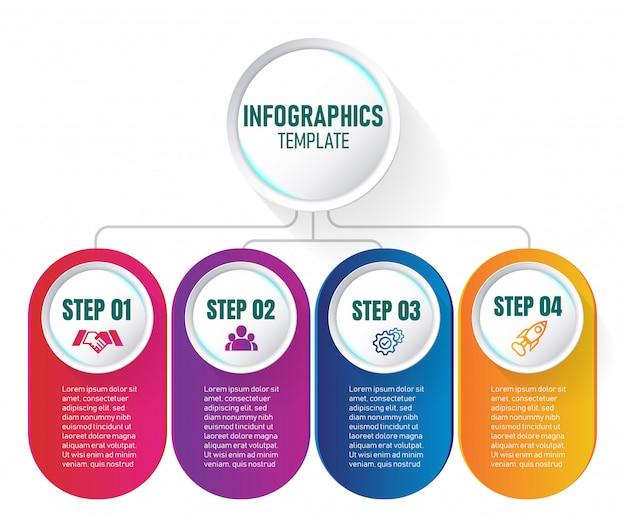 Infographie moderne éléments vectoriels design, modèle de graphique avec étape. illustration vectorielle