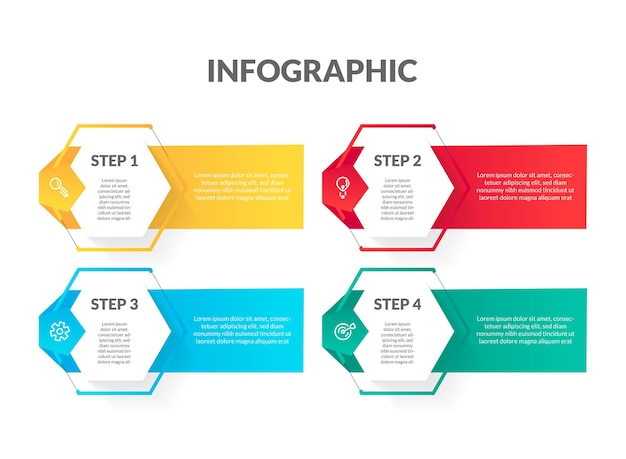 Infographie moderne de forme hexagonale colorée. parfait pour la présentation, le diagramme de processus, le flux de travail et la bannière