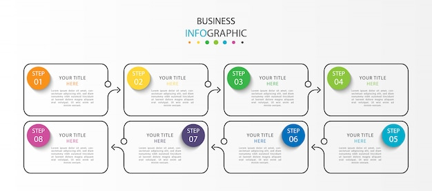 Infographie moderne avec sept étapes ou options