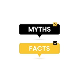 L'infographie avec des mythes ou des faits pour la conception de concept. icônes de coche. plate illustration vectorielle.