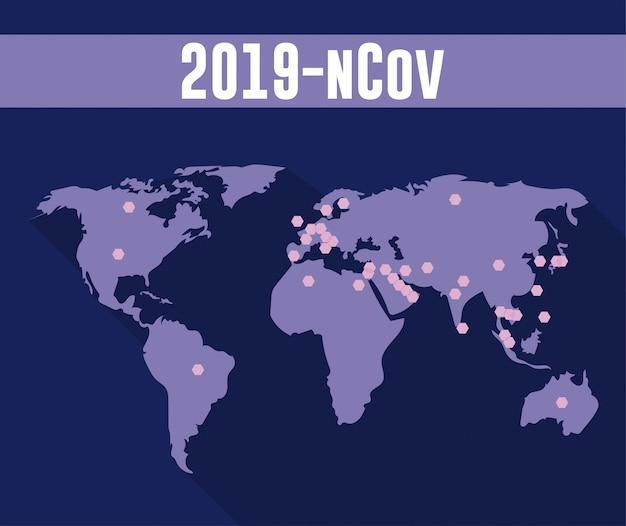 Infographie ncov 2019 avec la planète monde