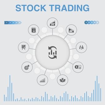 Infographie de négociation d'actions avec des icônes. contient des icônes telles que le marché haussier, le marché baissier, le rapport annuel, la cible