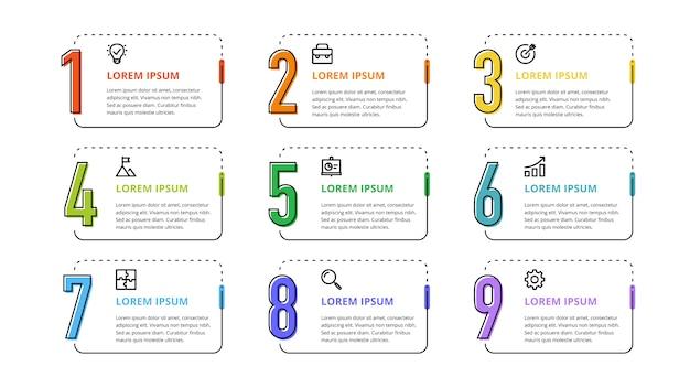 Infographie des nombres pour options commerciales, étapes et processus