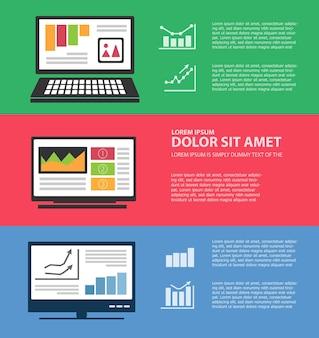Infographie avec ordinateurs et informatique comme présentation d'entreprise