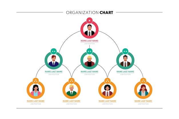 Infographie de l'organigramme plat