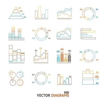 Infographie outline set élément graphique et graphiques, diagrammes. pixel art parfait. conception matérielle. illustration vectorielle