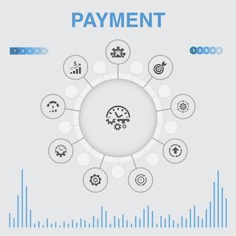 Infographie de paiement avec des icônes. contient des icônes telles que facture, argent, facture, remise