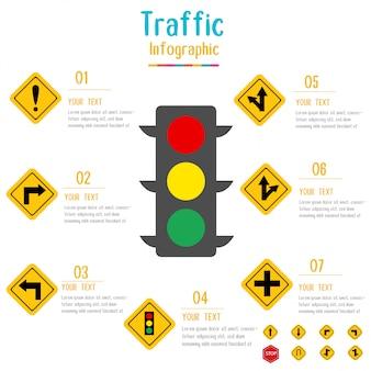 Infographie de panneau de signalisation. feu de circulation avec des éléments de données. illustration vectorielle.