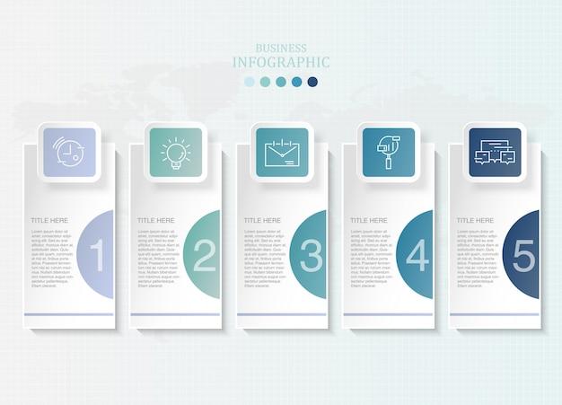 Infographie en papier couleurs bleu et icônes pour le concept d'entreprise actuelle.