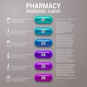 Infographie de pharmacie aide de diagramme d'étape avec des pilules ou des capsules.