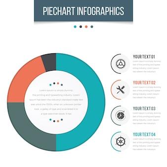 Infographie piechart avec 04 étapes