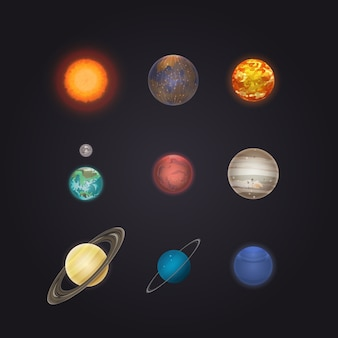 Infographie des planètes du soleil et du système solaire