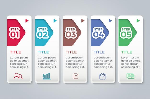Infographie plat coloré avec 5 marches d'options