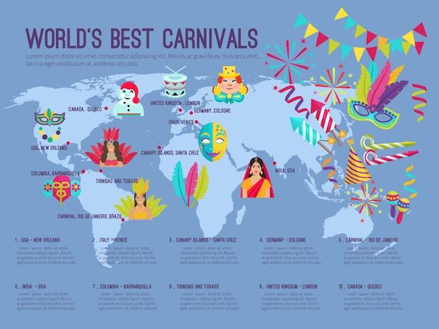 Infographie plat couleur représentant sur la carte, le meilleur carnaval au monde avec icônes vector illustration