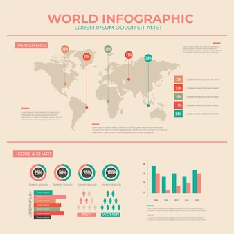 Infographie plat avec des couleurs vintage