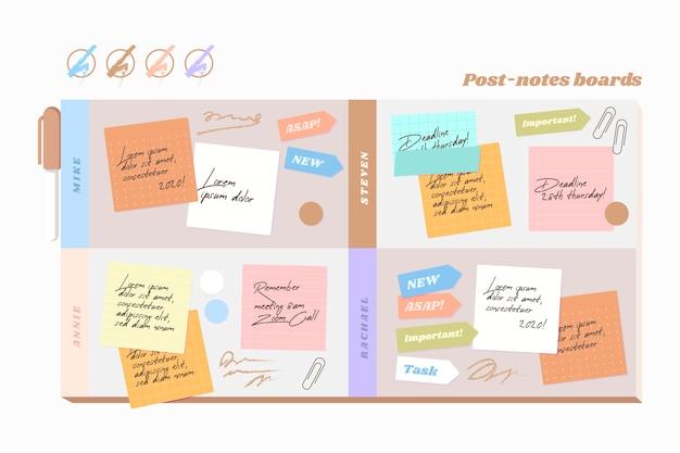 Infographie de plateaux post-it