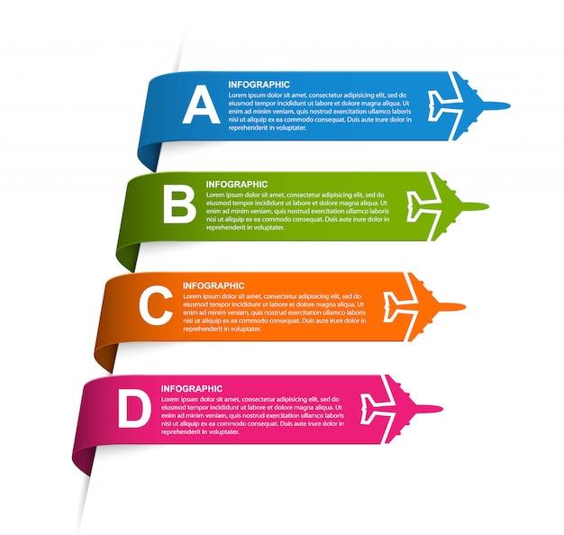 Infographie pour brochures de voyage et avion.