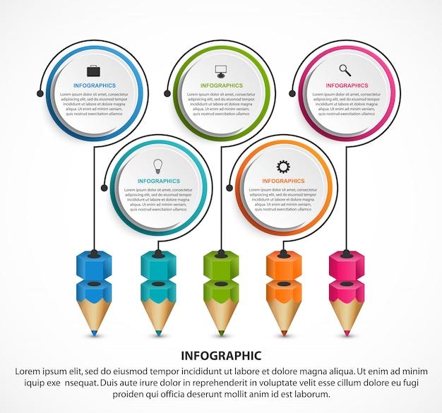 Infographie pour l'éducation avec des crayons colorés.
