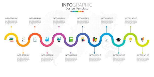 Infographie pour les entreprises avec des icônes et des options ou des étapes.