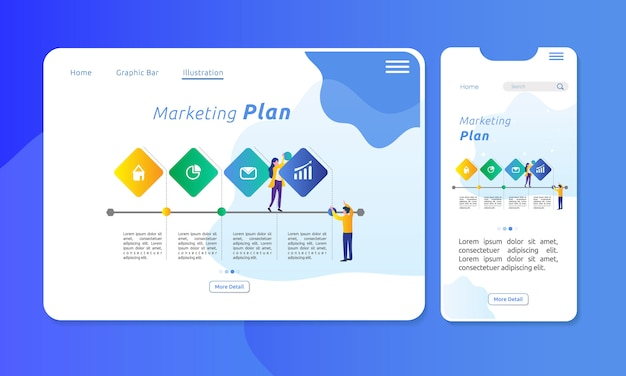 Infographie pour le plan marketing en 4 sections