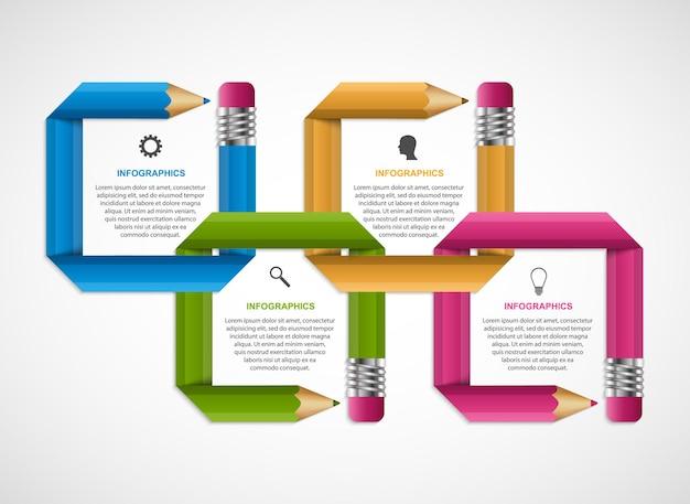 Infographie pour des présentations commerciales ou une bannière d'information.