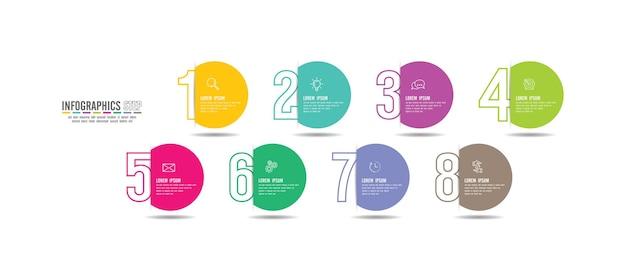 Infographie de présentation commerciale colorée avec 8 étapes