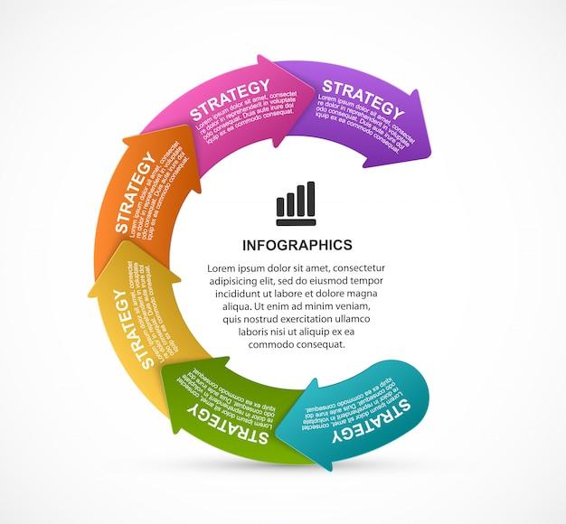 Infographie de présentation avec une flèche représentée dans un cercle.