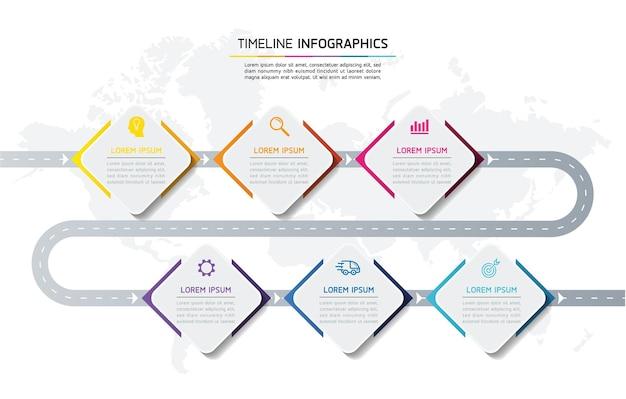 Infographie. présentation et graphique. étapes ou processus. nombre d'options conception de modèle de flux de travail, 6 étapes.