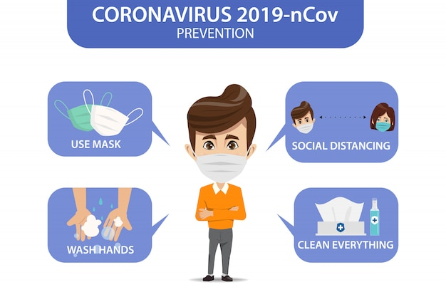 Infographie de prévention du coronavirus 2019-ncov. battez-vous pour covid-19.