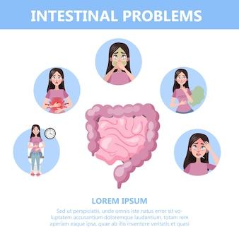 Infographie Avec Des Problèmes D'intestin. Femme Avec Digestif Vecteur Premium