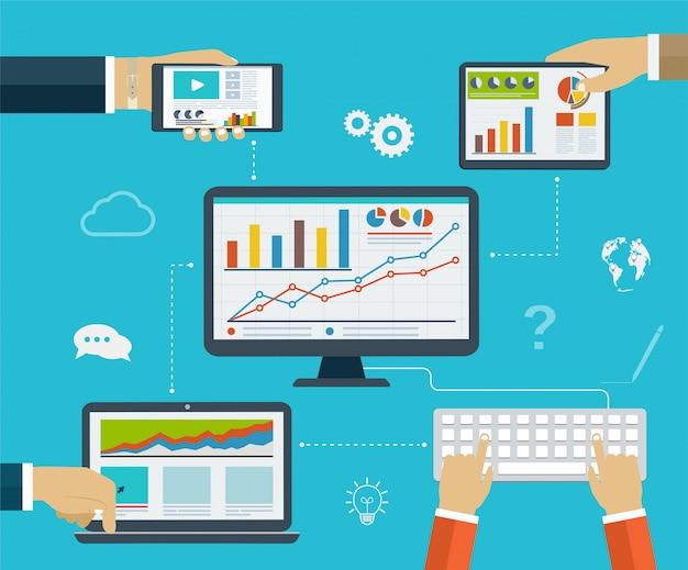 Infographie professionnelle utilisant des appareils numériques modernes pour la navigation sur internet, la création de rapports, des tableaux statistiques et des graphiques