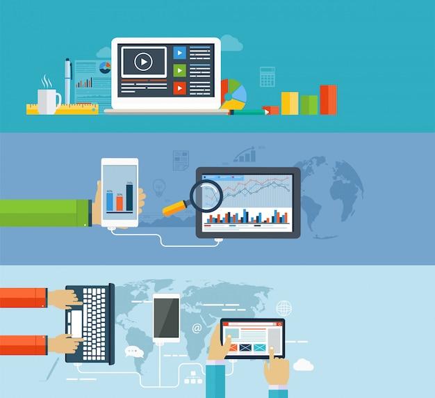 Infographie professionnelle utilisant des appareils numériques modernes pour la navigation sur internet, le transfert de données sur des appareils mobiles, la création de rapports, des tableaux statistiques et des graphiques