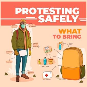 Infographie de protestation en toute sécurité illustrée
