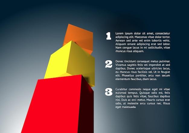 Infographie avec pyramide cubique 3d