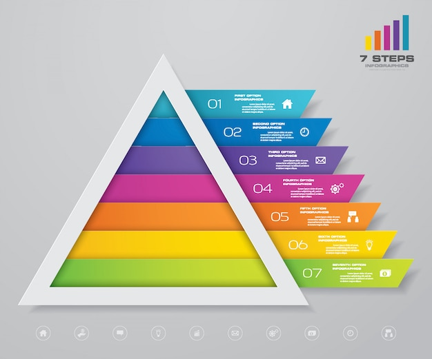Infographie de pyramide avec modèle de texte à chaque niveau.