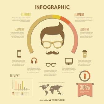 Infographie rétro hippie