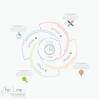 Infographie ronde avec 4 éléments en lettres spirales