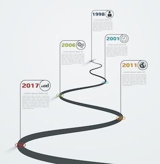 Infographie de route avec des pointeurs, chronologie avec des icônes de l'entreprise. développement de la structure de progression.