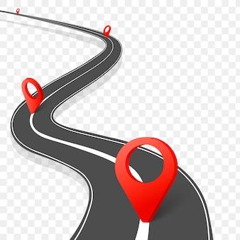 Infographie routière. route sinueuse vers le succès avec des pointeurs de broches. chemin de voyage d'affaires.