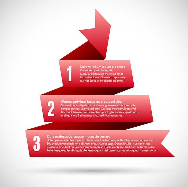 Infographie avec des rubans de pyramide en spirale rouge