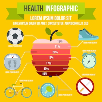 Infographie de la santé dans le style plat pour n'importe quelle conception