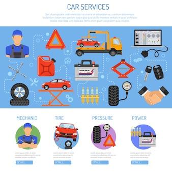 Infographie de service de voiture
