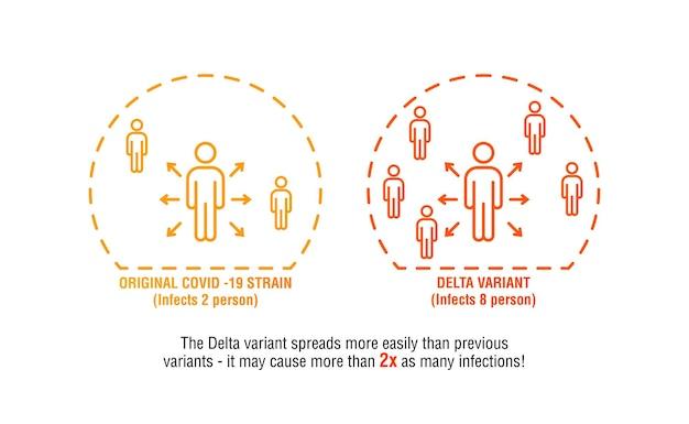 Infographie avec la souche covid 19 originale vs la variante delta hautement contagieuse