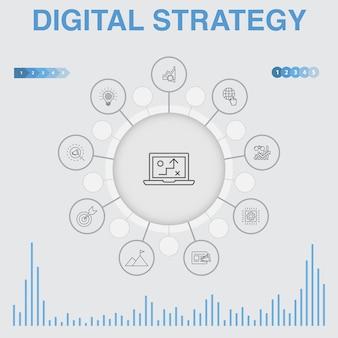Infographie de stratégie numérique avec des icônes. contient des icônes telles que contient des icônes telles qu'internet, seo, marketing de contenu, mission