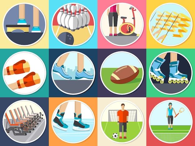 Infographie de style de vie sportive avec appareil de gym