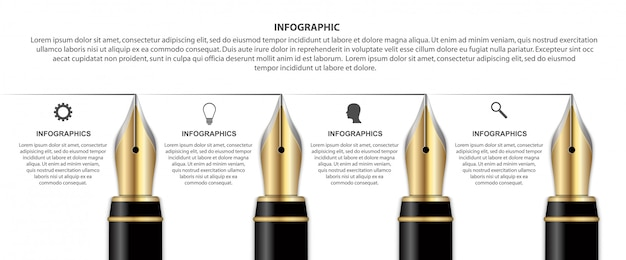 Infographie avec stylo à encre.