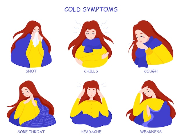 Infographie des symptômes du rhume ou de la grippe. fièvre et toux, maux de gorge. idée de traitement médical et de soins de santé. illustration