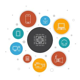 Infographie de la technologie 10 étapes de conception de bulles. maison intelligente, appareil photo, tablette, icônes simples de smartphone